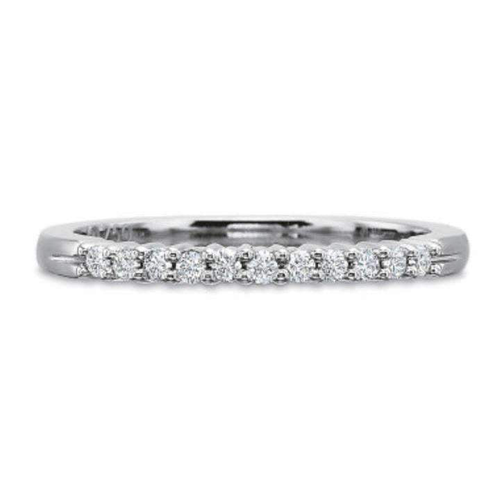 Precision Set Half Round Diamond Shared Prong Band 0.15ct