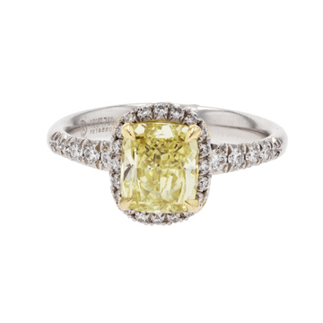 Precision Set Halo Yellow Diamond Engagement Ring