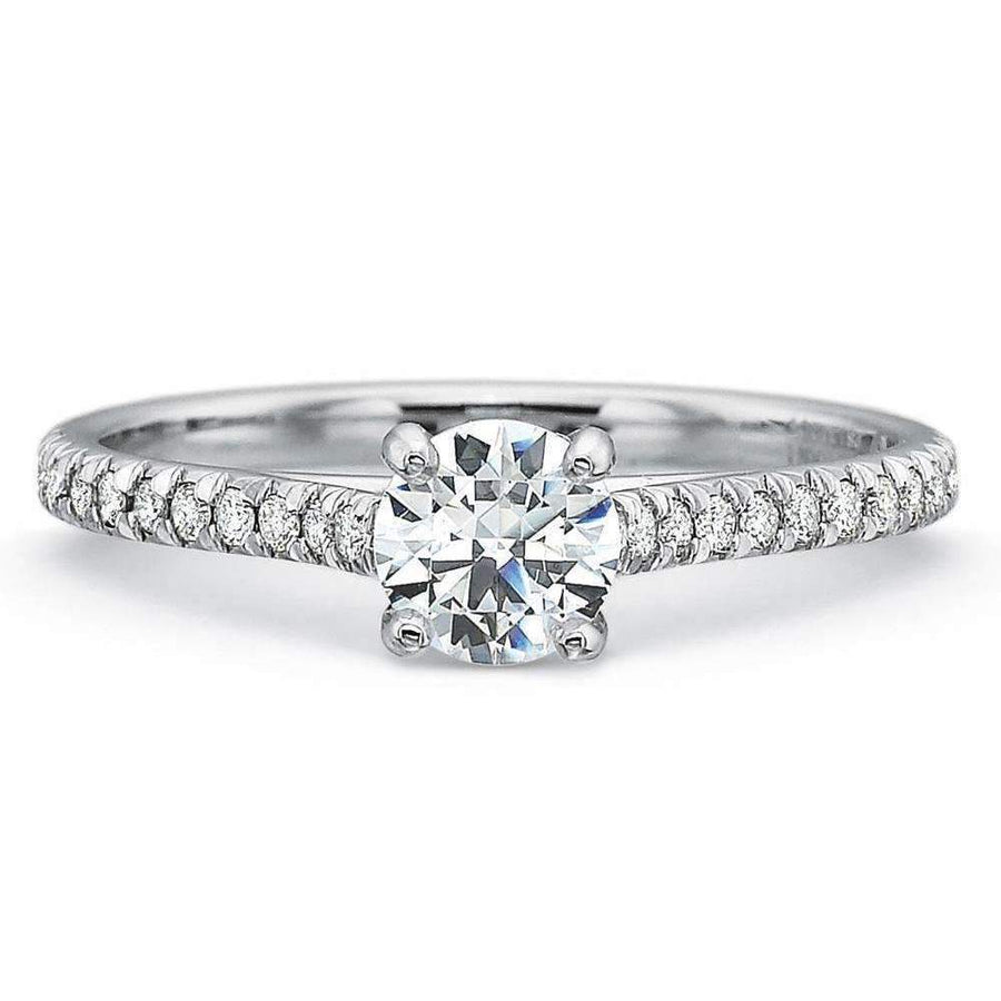 Precision Set Shared Prong Sidestone Engagement Ring