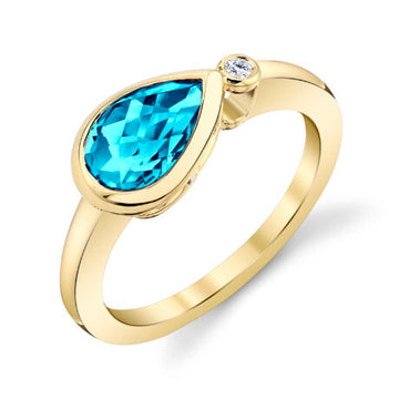 Stanton Color Pear Shaped Blue Topaz and Diamond Bezel Ring
