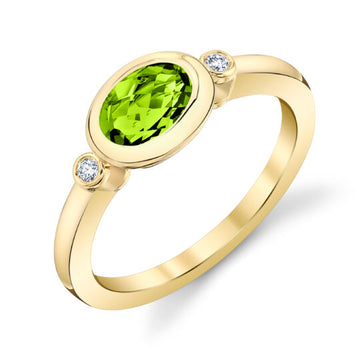 Stanton Color Oval Peridot and Diamond Bezel Ring