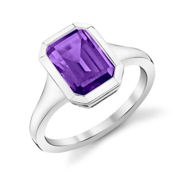 Stanton Color Emerald Cut London AmethysT Ring
