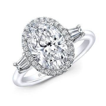 Rahaminov Halo and Baguette Shoulder Diamond Engagement Ring