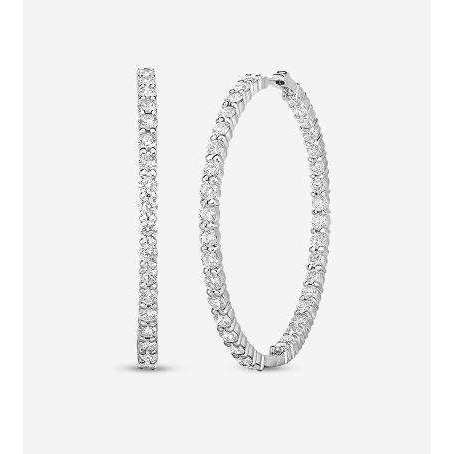 Roberto Coin 46mm Perfect Inside and Out Diamond Hoops