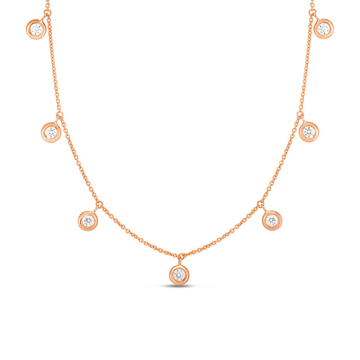 Roberto Coin Diamond Dangle Station Necklace rose gold