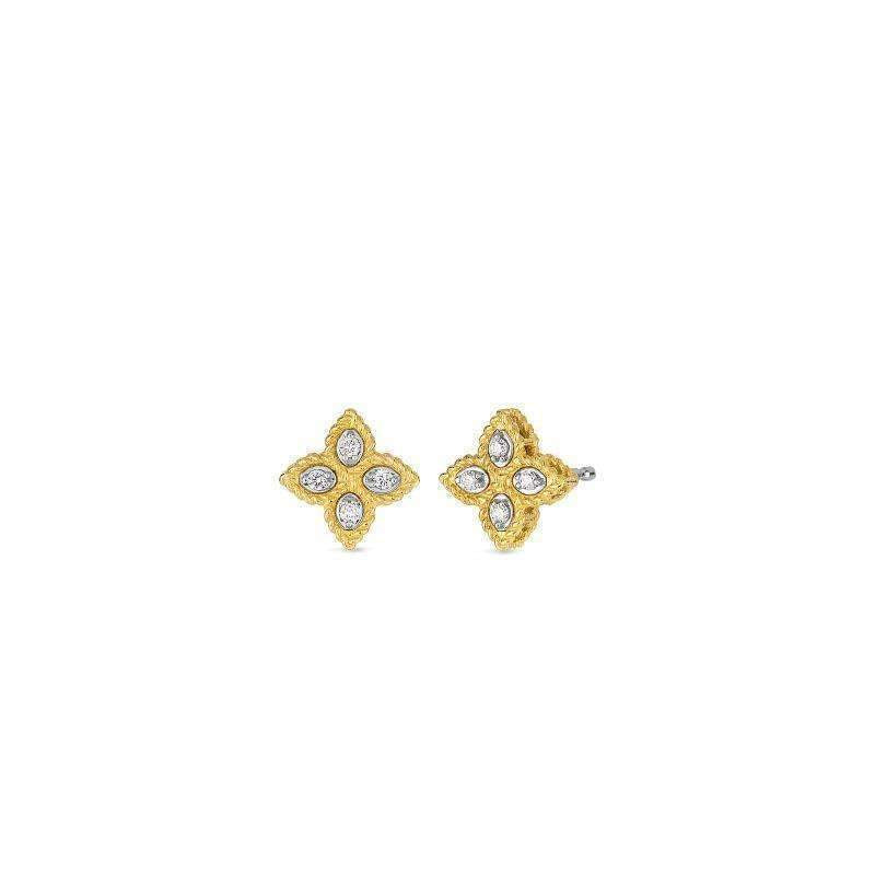 Roberto Coin Diamond Flower Small Studs - Princess Collection