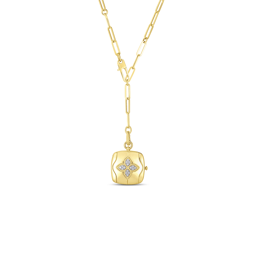 Roberto Coin Diamond Royal Princess Flower Gold Locket with Chain
