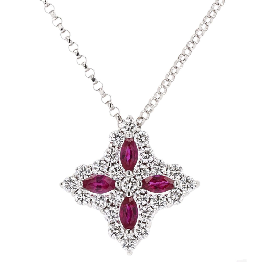Roberto Coin Marquise Ruby Princess Flower Pendant