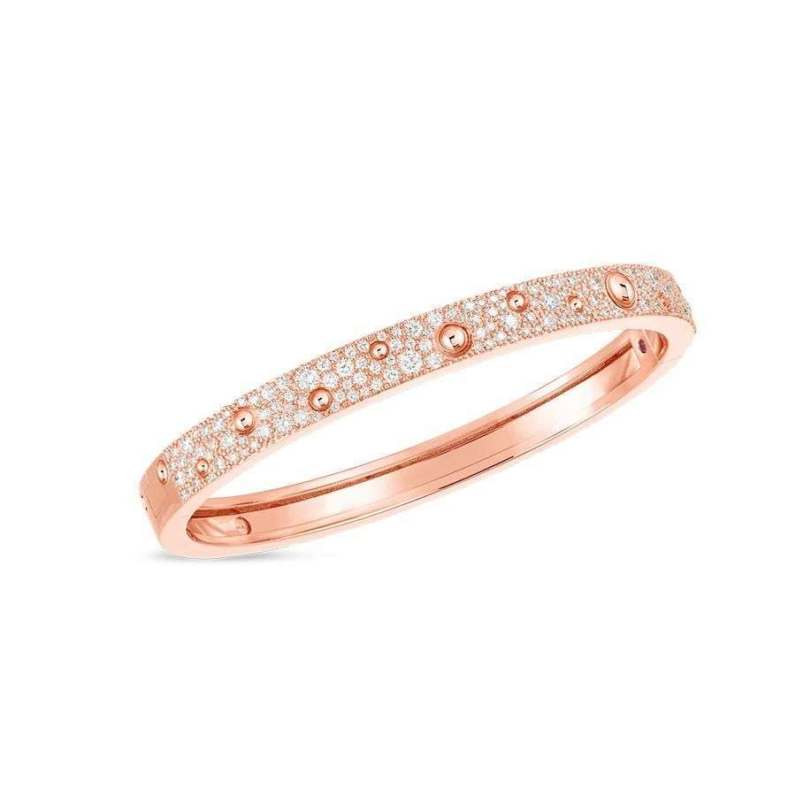 Roberto Coin Rose Gold Diamond Pois Moi Luna Bangle Bracelet