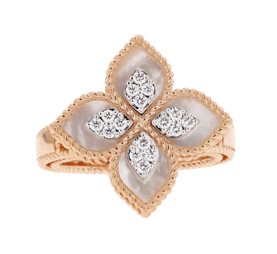 Roberto Coin Rose Gold Mother of Pearl & Diamond Princess Flower Ring