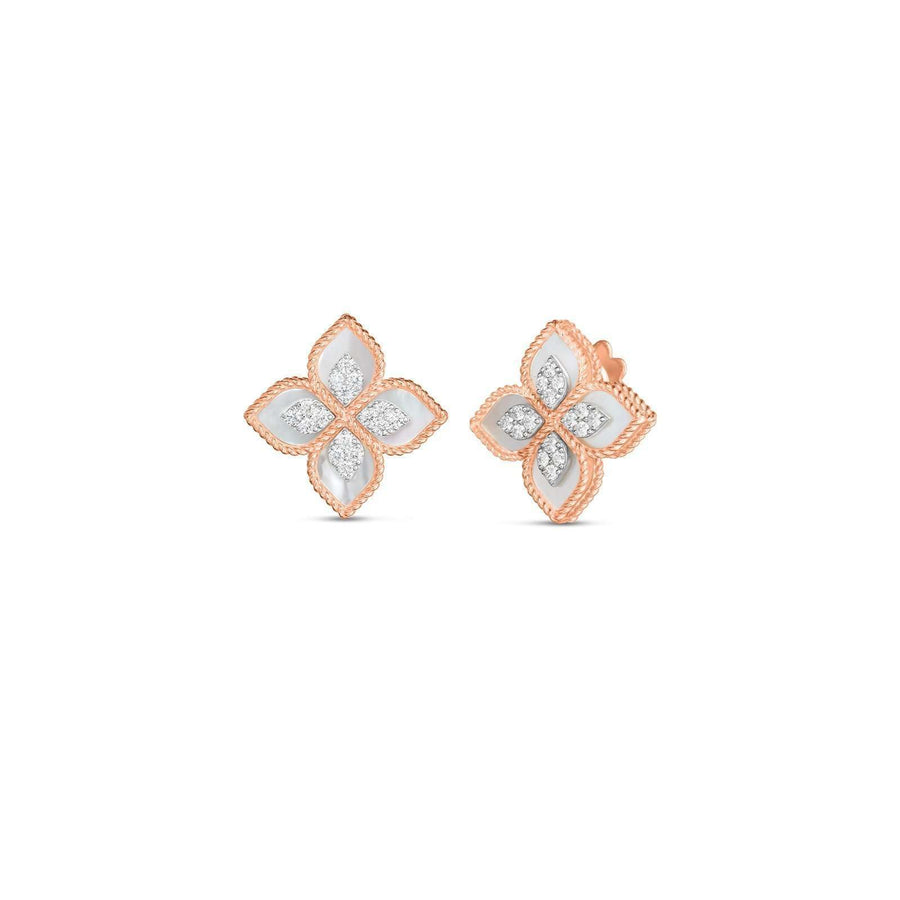 Roberto Coin Rose Gold Mother of Pearl & Diamond Princess Flower Studs