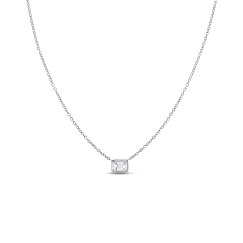 Roberto Coin Single Emerald Cut Diamond Bezel Pendant