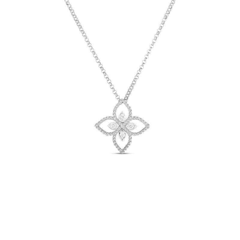 Roberto Coin White Gold Open Diamond Medium Princess Flower Pendant