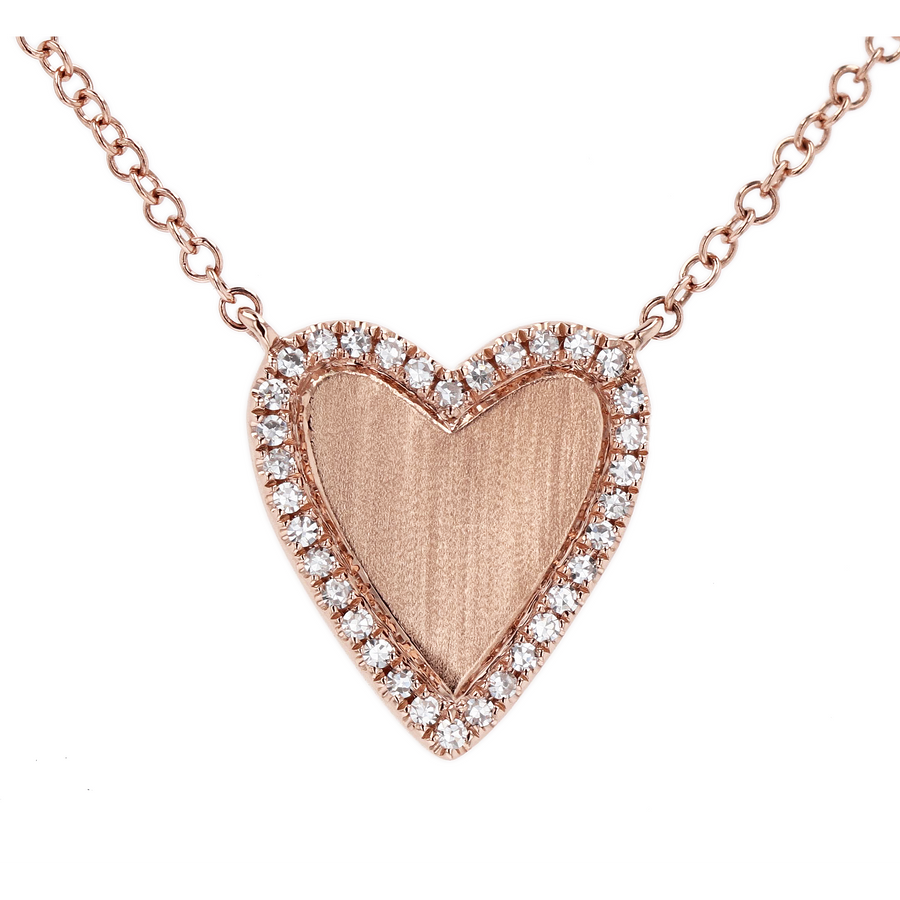 Rose Gold Diamond Heart Pendant Necklace