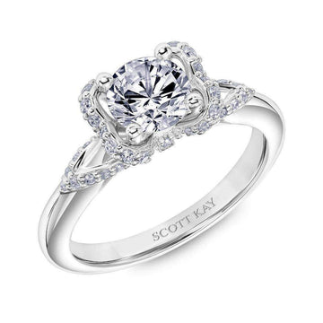 Scott Kay Bow Accent Vintage Diamond Engagement Ring