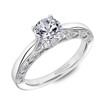 Scott Kay Diamond Milgrain Arched Gallery Engagement Ring