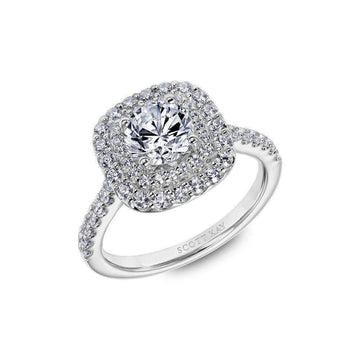 Scott Kay Double Halo Cushion Diamond Engagement Ring