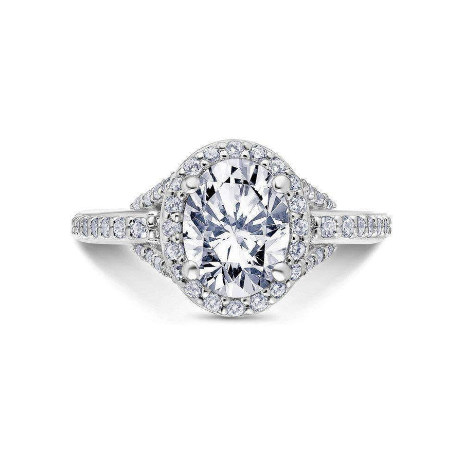 Scott Kay Halo Link Oval Diamond Engagement Ring