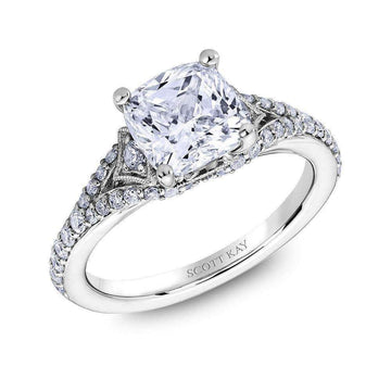 Scott Kay Side Stone Milgrain Arched Diamond Engagement Ring