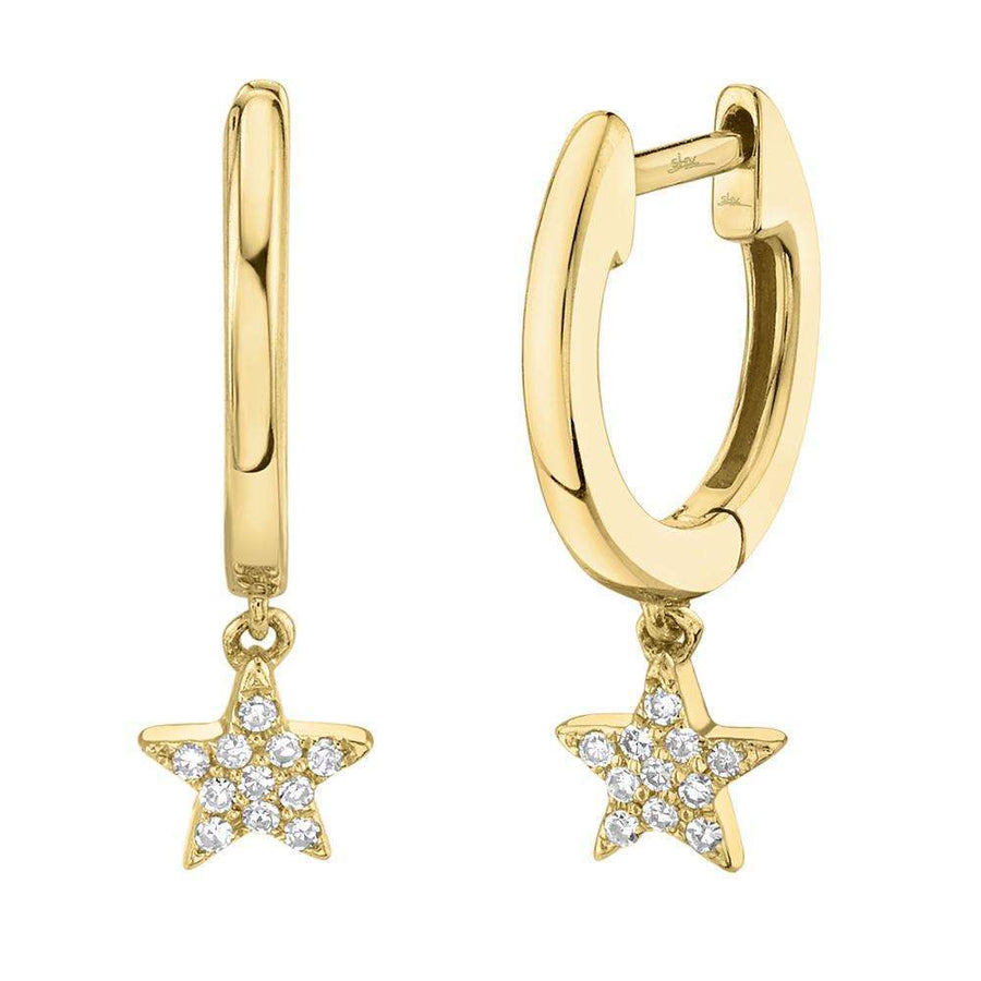 Shy Creation 0.04CTW Diamond Star Huggie Hoop Earrings