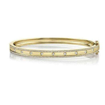 Shy Creation Bezel Center Diamond Lined Edge Bangle