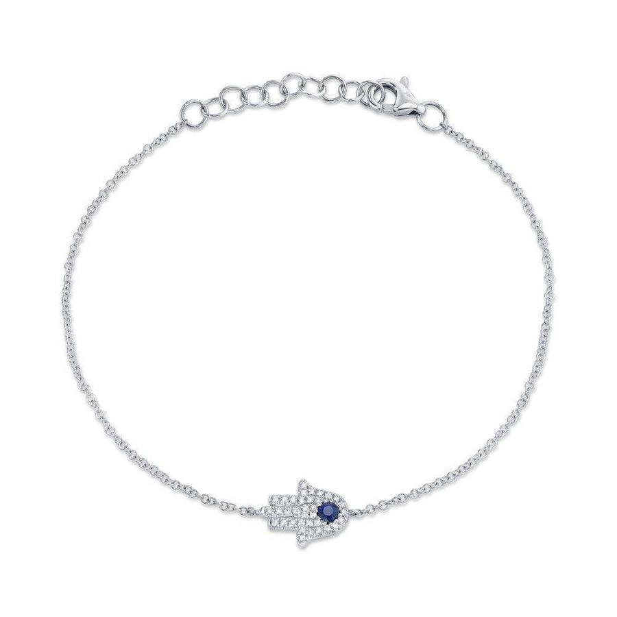 Shy Creation Blue Sapphire and Diamond Hamsa Bracelet