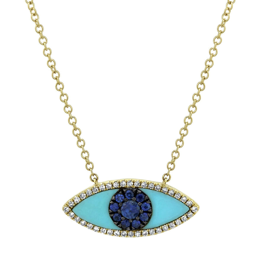 Shy Creation Blue Sapphire, Diamond, and Turquoise Eye Necklace