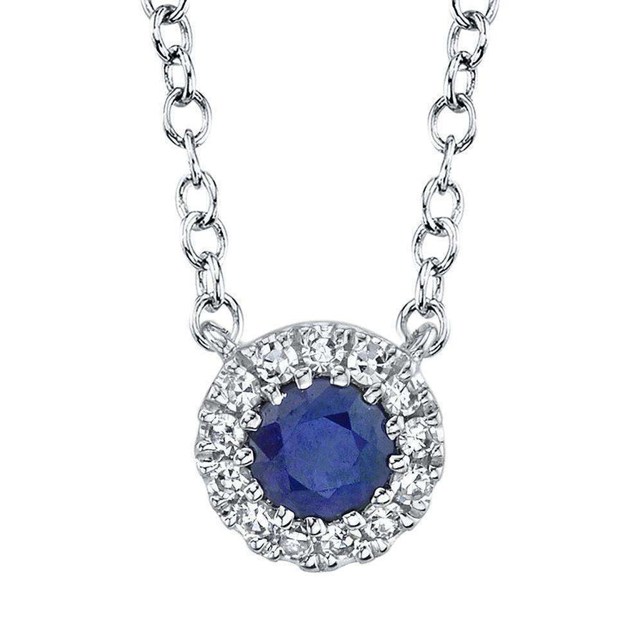 Shy Creation Diamond and Blue Sapphire Necklace