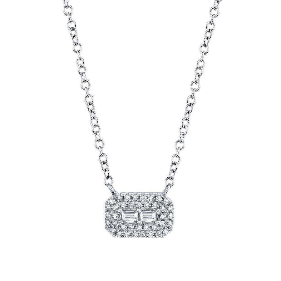 Shy Creation Diamond Baquette and Double Halo Necklace
