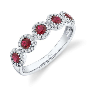 Shy Creation Five Diamond Halo and Ruby Band