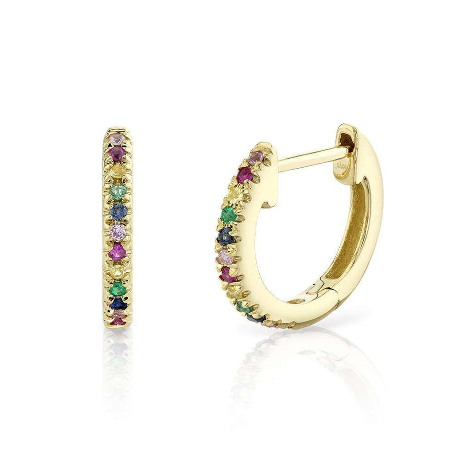 Shy Creation Multi-Color Stone Huggie Hoop Earrings