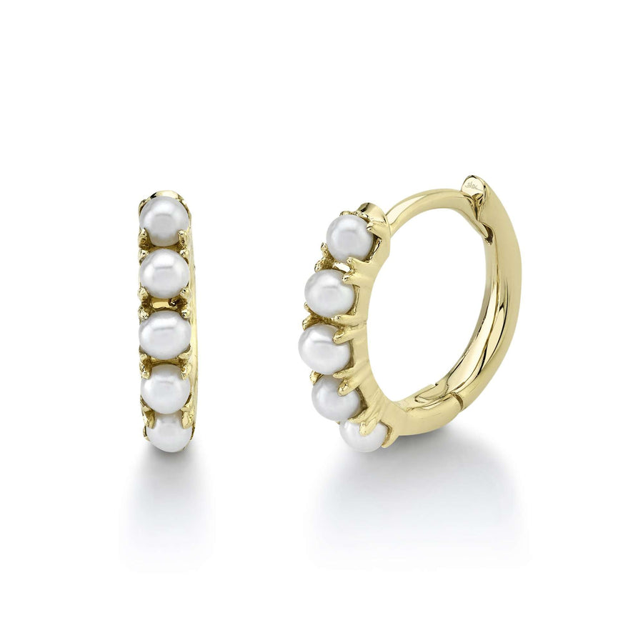 Shy Creation Pearl Huggie Hoop Earrings
