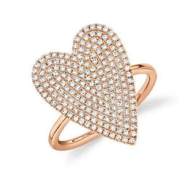 Shy Creation Rose Gold Pave Diamond Heart Ring