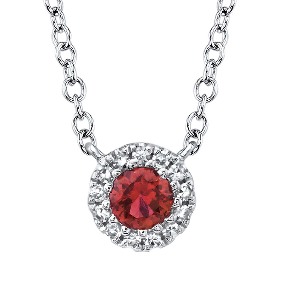 Shy Creation Ruby and Diamond Halo Pendant