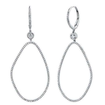 Shy Creation's Diamond Double Hoop Dangle Earrings
