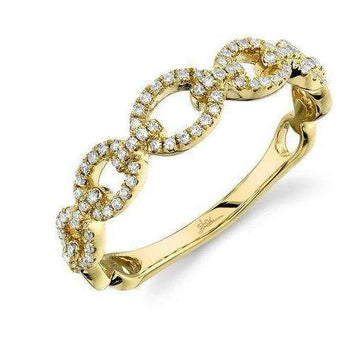 Shy Creation's Yellow Gold Diamond Chain Link Band