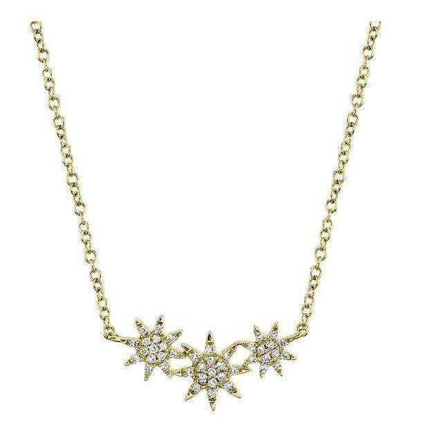 Shy Creation's Yellow Gold Pavé Diamond Star Necklace