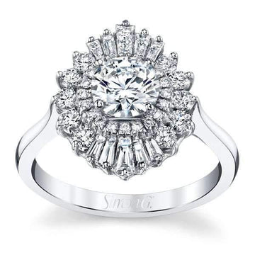 Simon G Baguette & Round Diamond Cluster Halo Engagement Ring