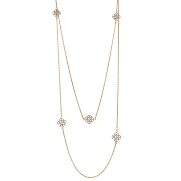 Simon G. Floral Station Necklace with Diamonds