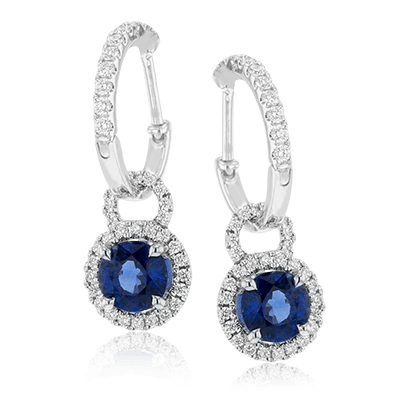 Simon G Sapphire Diamond Halo Drop Earrings
