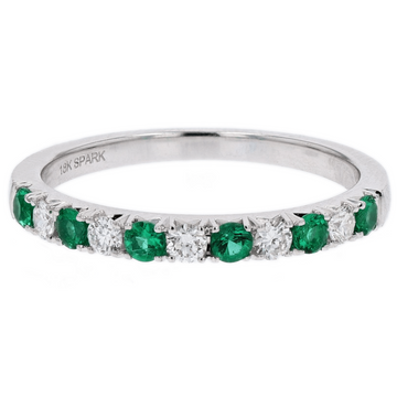 Spark Creations Diamond & Emerald Gold Band