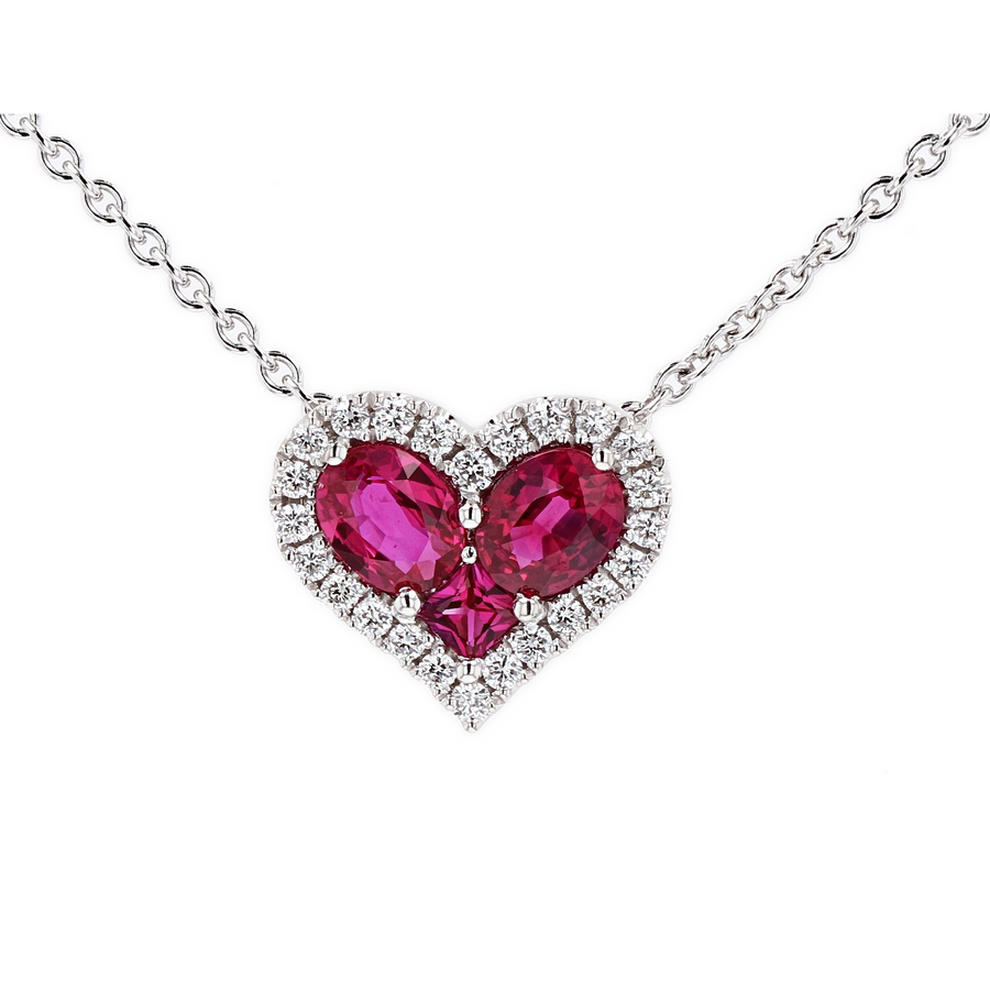 Spark Creations Ruby & Diamond Heart Pendant