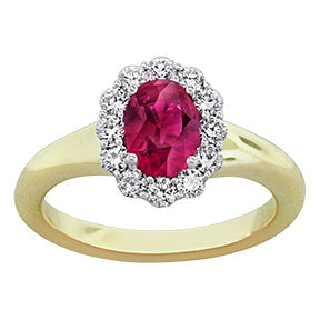 Spark Ruby with Diamond Halo Ring