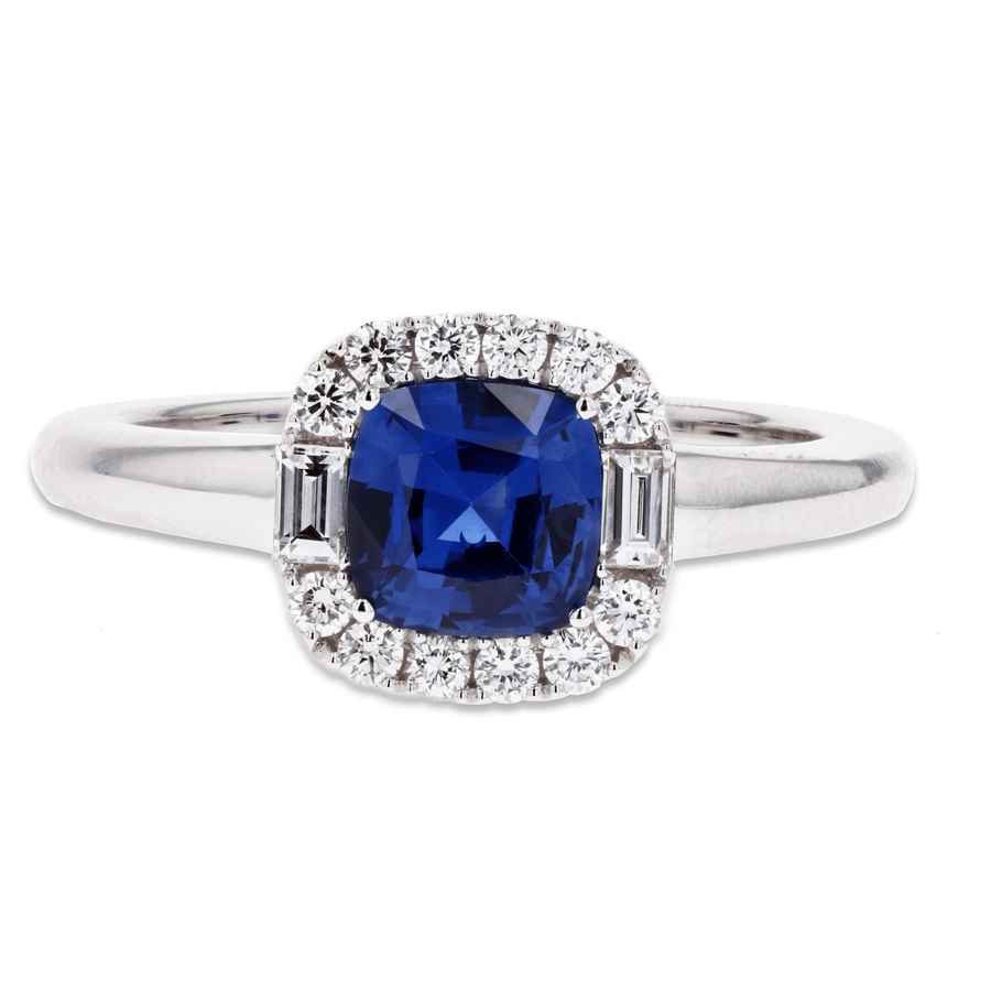 Spark Sapphire with Diamond Halo Ring