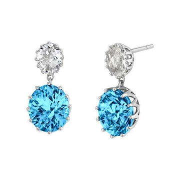 Stanton Color Blue Topaz and Goshenite Dangle Earrings