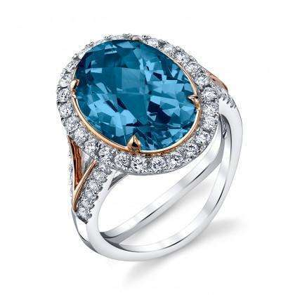 Stanton Color Cabochon Oval Blue Topaz & Diamond Ring