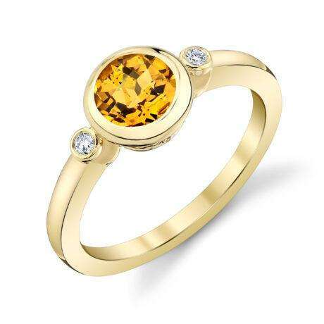 Stanton Color Citrine and Diamond Bezel Ring