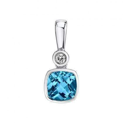 Stanton Color Cushion Blue Topaz & Diamond Pendant
