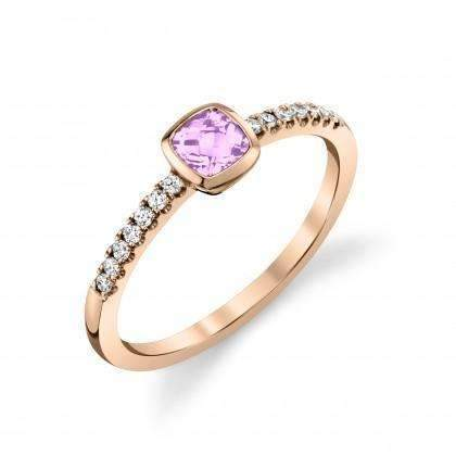 Stanton Color Cushion Lavender Amethyst & Diamond Ring