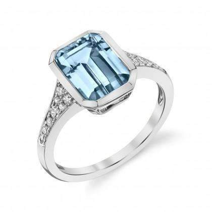 Stanton Color Emerald Cut Aquamarine & Diamond Ring
